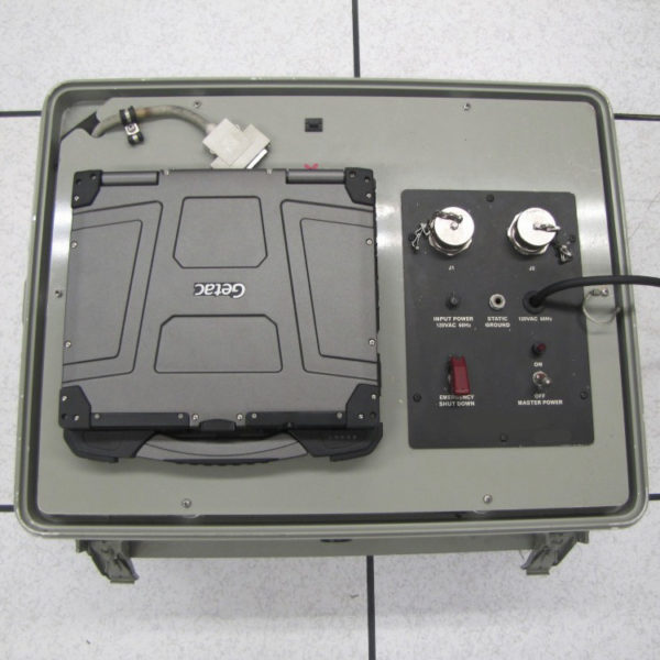 B300 laptop ruggedized all metal wheeled vehicle mount with B300 installed on end item and viewed from above
