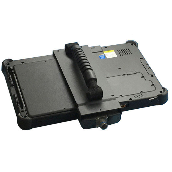 F110 tablet ruggedized all metal signal breakout housing and hand clamp with IO connector oriented downward viewed from the front