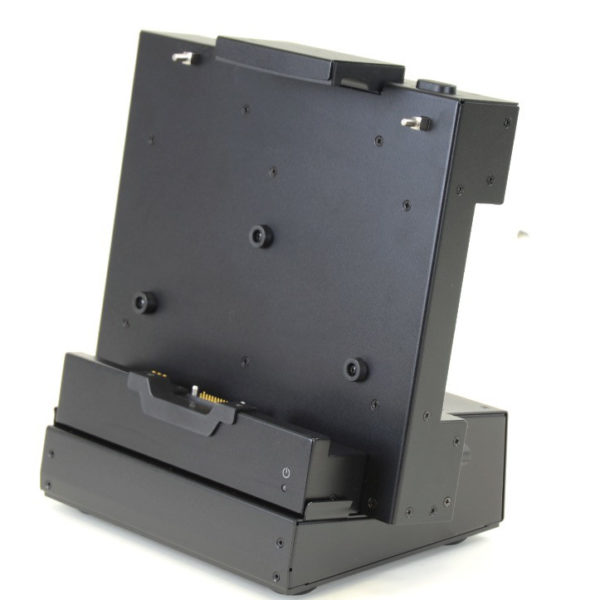 F110 tablet ruggedized all metal tabletop or bench-mounted dock with port replication right oblique view