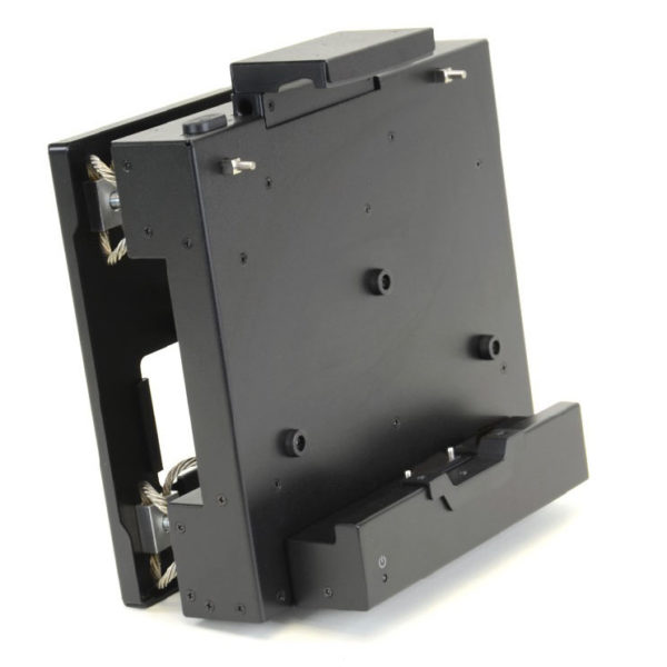 F110 tablet ruggedized all metal tracked vehicle mount with vibration isolators left oblique view