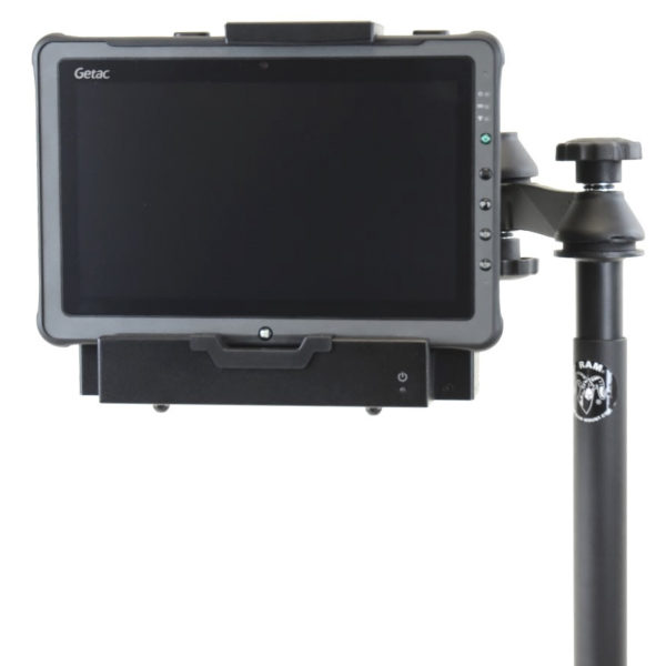 F110 tablet in telescoping ruggedized all metal wheeled vehicle mount frontview