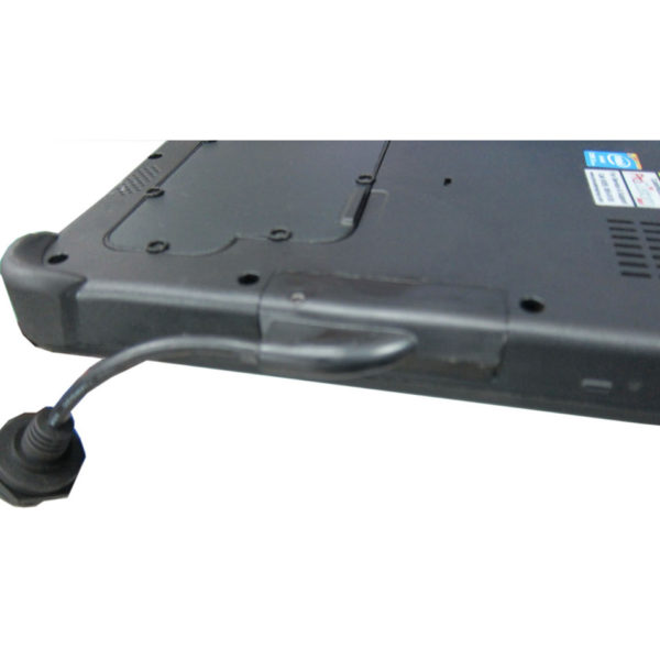 Side view of the waterproof USB interface extension dongle for the Getac F110 tablet after installation into the F110 chassis