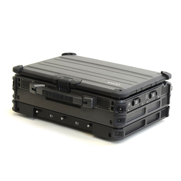 X500 triple high laptop with rear 38999 MILBOX and aluminum olive drab receptacles with caps installed and IO conversion