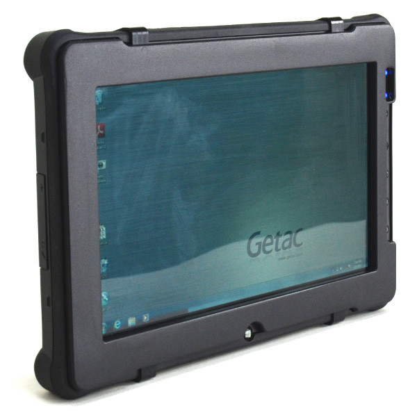 F110 tablet removable clip-on NVIS filter shown mounted from front left