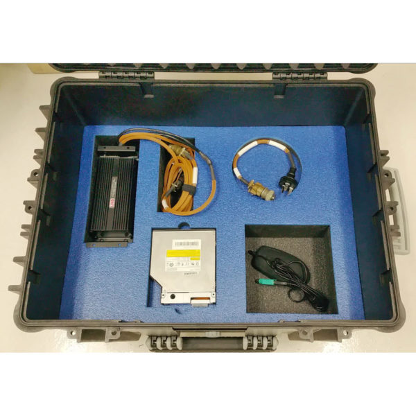 PCG custom transit case showing power adapter, cables and accessories in lower compartments from above