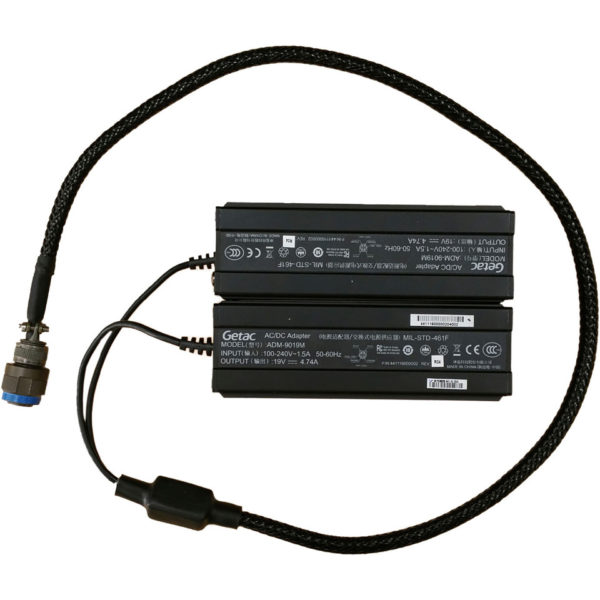 X500 laptop 180W MILSPEC AC adapter with MIL-D-38999 output plug and MIL-STD-461F certification
